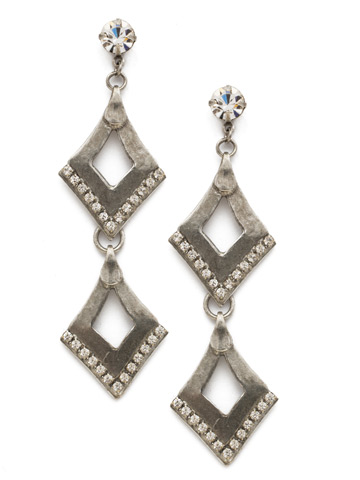 Love Tri-Angle Earring in Antique Silver-tone Crystal