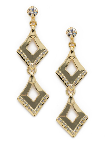 Love Tri-Angle Earring in Bright Gold-tone Crystal