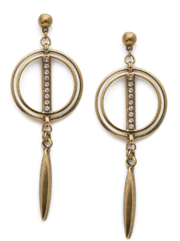 Mini Running In Circles Earring in Antique Gold-tone Crystal