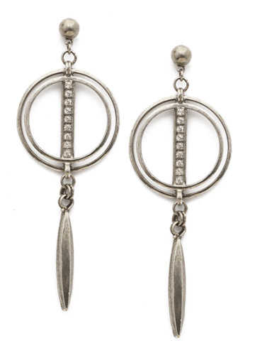 Mini Running In Circles Earring in Antique Silver-tone Crystal