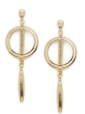 Mini Running In Circles Earring in Bright Gold-tone Crystal