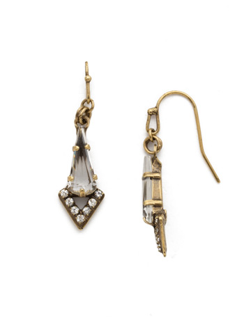 Pointed South Earring in Antique Gold-tone Crystal