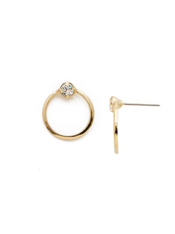 Mini Circling the Middle Earring in Bright Gold-tone Crystal