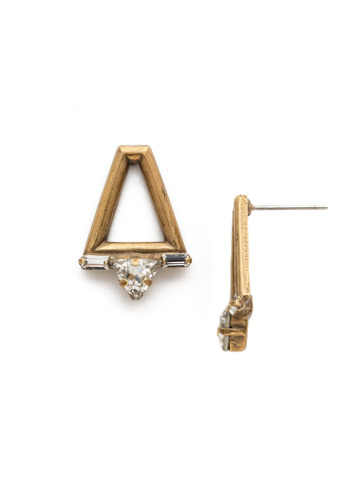 Dropping In Earring in Antique Gold-tone Crystal
