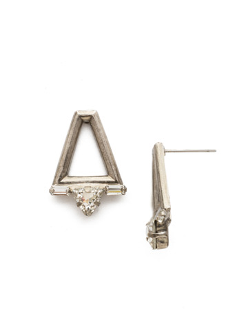 Dropping In Earring in Antique Silver-tone Crystal