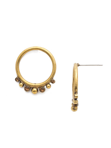 Orsa Mini Forward Facing Hoop Earring in Antique Gold-tone Driftwood