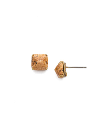 Betta Delicate Stud Earring in Antique Gold-tone Driftwood
