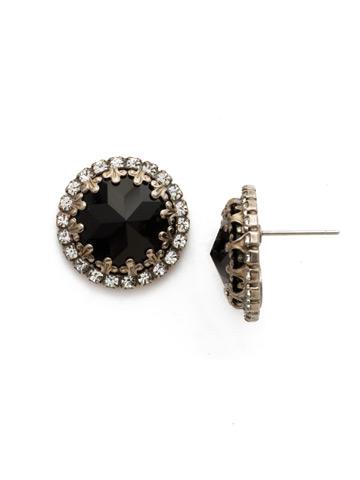 Ballota Earring in Antique Silver-tone Black Tie