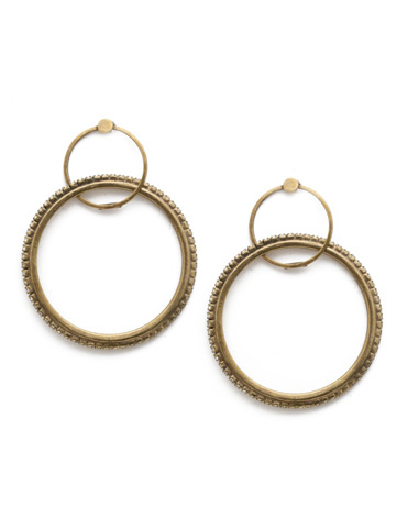 Never Lose Hoop Earring in Antique Gold-tone Crystal