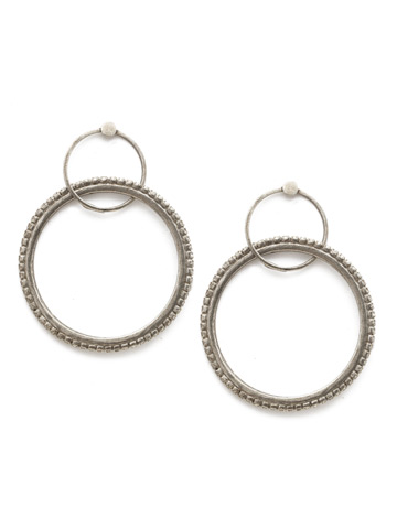 Never Lose Hoop Earring in Antique Silver-tone Crystal
