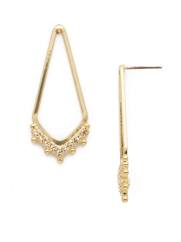 Free Fall Earring in Bright Gold-tone Crystal