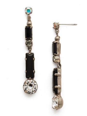 Sasa Earring in Antique Silver-tone Black Tie