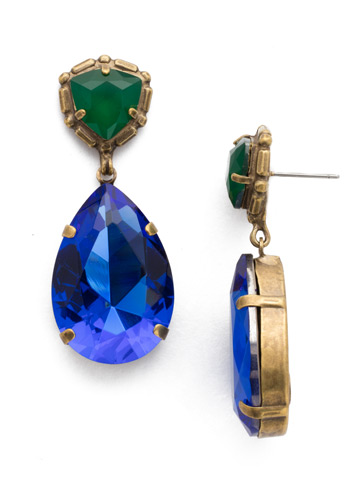 Yucca Statement Earring in Antique Gold-tone Game of Jewel Tones