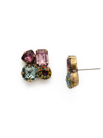 Carex Earring in Antique Gold-tone Royal Plum