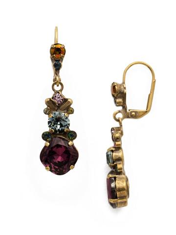 Rosmarin Earring in Antique Gold-tone Royal Plum
