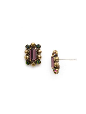 Senecia Earring in Antique Gold-tone Royal Plum