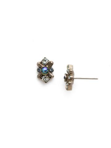 Aralia Earring in Antique Silver-tone Blue Suede