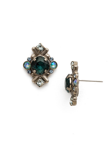 Stonecrop Earring in Antique Silver-tone Blue Suede