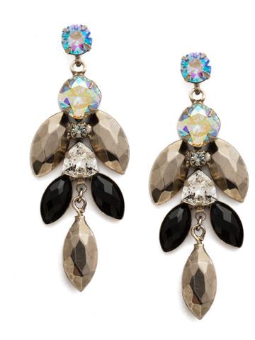 Euphorbia Earring in Antique Silver-tone Black Tie