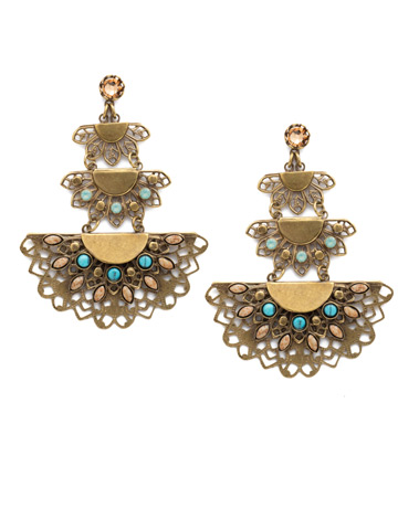 Simone Statement Post Earring in Antique Gold-tone Driftwood