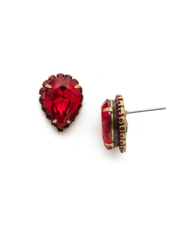 Rain Droplet Earring in Antique Gold-tone Sansa Red