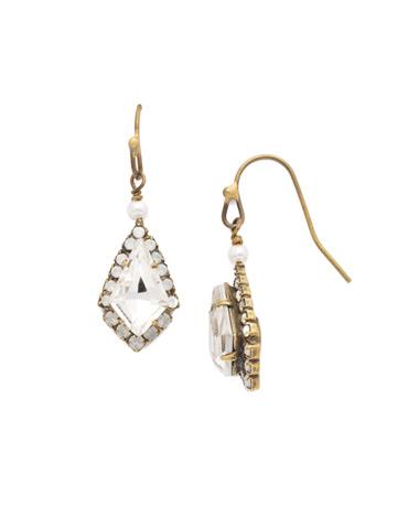 Diamond Drop Earring in Antique Gold-tone White Bridal