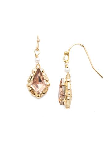 Bright Gold Drop Earring in Bright Gold-tone Satin Blush