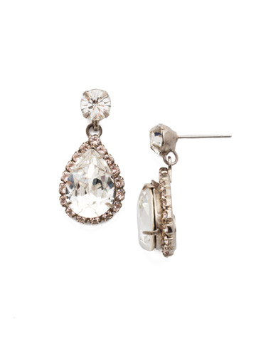 Crystal Tear Drop Earring in Antique Silver-tone Snow Bunny