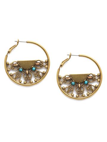 Lavanda Hoop Earring in Antique Gold-tone Driftwood