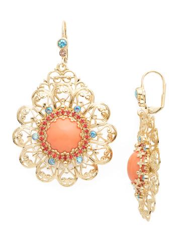 Idalia Statement Earring in Bright Gold-tone Mango Tango