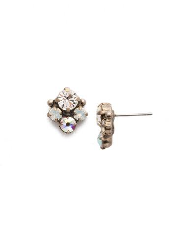 Jennifer Stud Earring in Antique Silver-tone White Bridal
