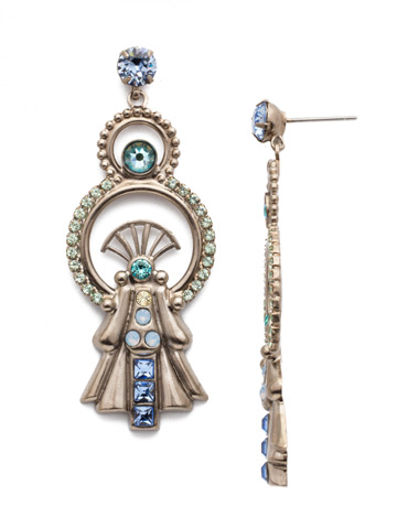 Lucrezia Statement Earring in Antique Silver-tone Pastel Prep