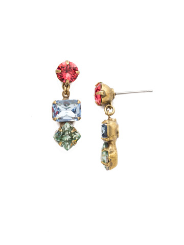 Lucia Post Drop Earring in Antique Gold-tone Bohemian Bright