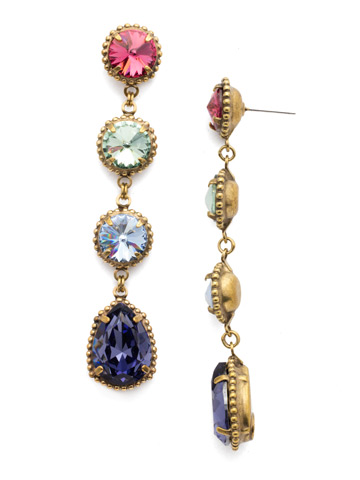 Louisa Statement Drop Earring in Antique Gold-tone Bohemian Bright