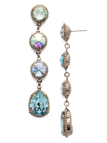 Louisa Statement Drop Earring in Antique Silver-tone Pastel Prep