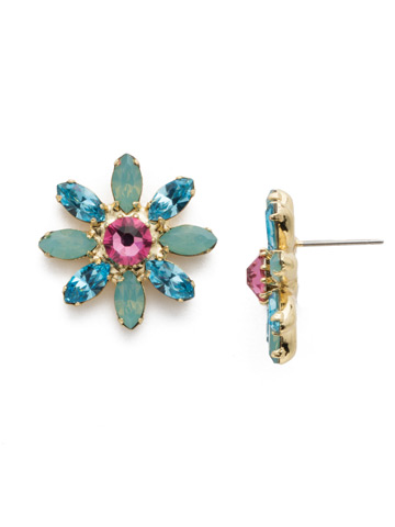 Emiliana Post Earring in Bright Gold-tone Candy Pop