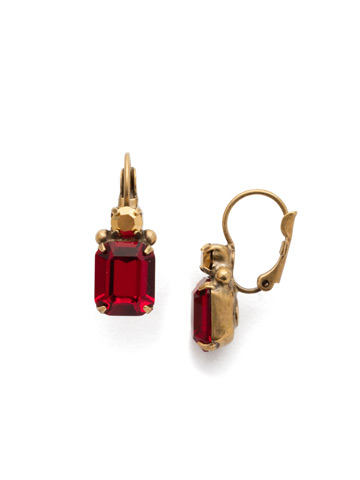 Zelmira French Wire Earring in Antique Gold-tone Go Garnet