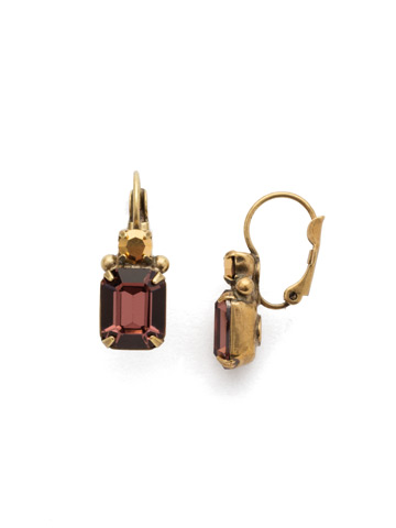 Zelmira French Wire Earring in Antique Gold-tone Mighty Maroon