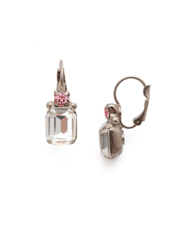Zelmira French Wire Earring in Antique Silver-tone Misty Pink