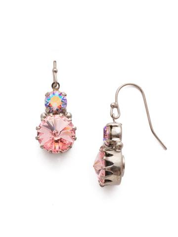 Adelina Drop Earring in Antique Silver-tone Misty Pink