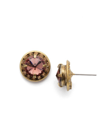 Dua Stud Earring in Antique Gold-tone Mighty Maroon