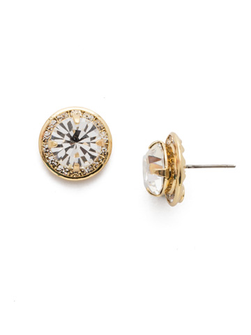 Dua Stud Earring in Bright Gold-tone Crystal