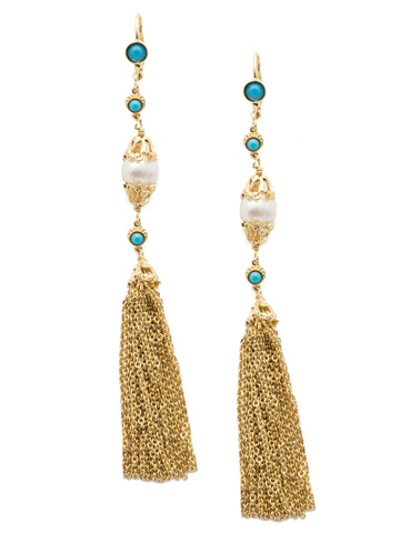 Concetta Tassel Earring in Bright Gold-tone Polished Pearl