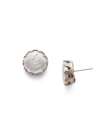 Isabella Earring in Antique Silver-tone Polished Pearl