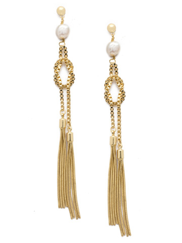 Raffaella Earring in Bright Gold-tone Polished Pearl