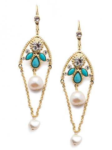 Daniella French Wire Earring in Bright Gold-tone Polished Pearl