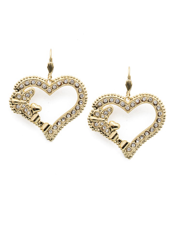 Suzette French Wire Earring in Bright Gold-tone Polished Pearl