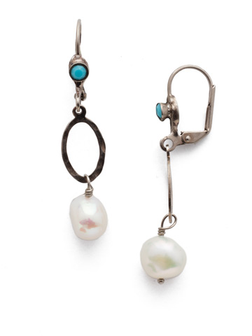 Milana French Wire Earring in Antique Silver-tone Polished Pearl
