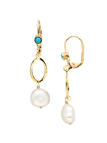 Milana French Wire Earring in Bright Gold-tone Polished Pearl