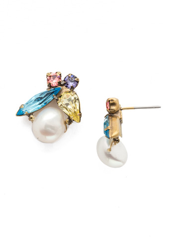 Elisa Post Earring in Antique Gold-tone Bohemian Bright